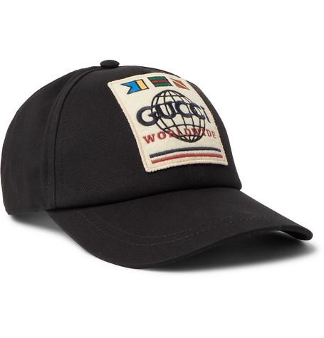 Logo Appliquéd Cotton Twill Baseball Cap by Gucci