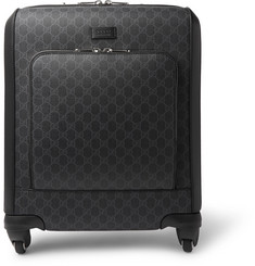Gucci Gran Turismo Leather-Trimmed Monogrammed Coated-Canvas Carry-On Suitcase
