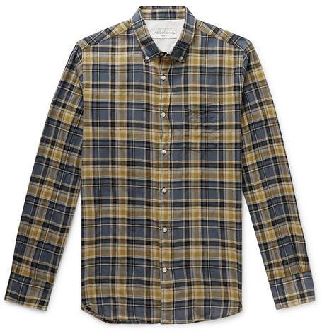 Officine Generale T-shirts Button-Down Collar Checked Cotton-Blend Shirt