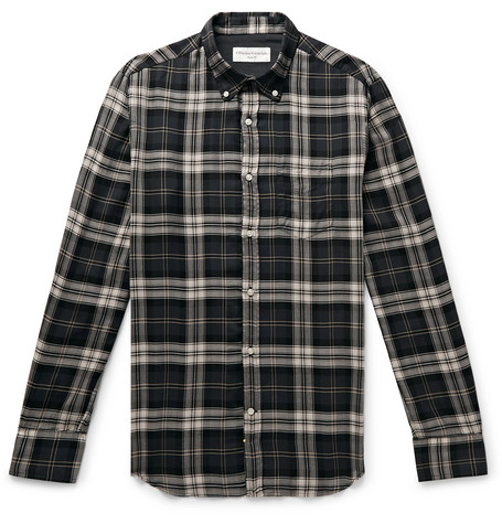 Officine Generale T-shirts Button-Down Collar Checked Lyocell Shirt