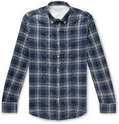 Officine Generale Button-Down Collar Checked Cotton-Blend Flannel Shirt