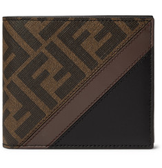 Fendi Logo-Print Coated-Canvas and Leather Billfold Wallet