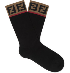 Fendi Logo-Intarsia Stretch Cotton-Blend Socks