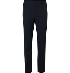 Fendi Navy Tapered Satin-Trimmed Wool Trousers