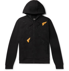 Fendi Leather-Appliquéd Fleece-Back Printed Cotton-Jersey Hoodie