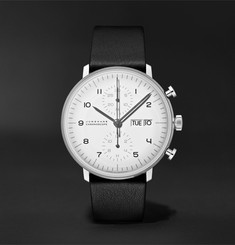 Junghans Limited Edition Max Bill Chronoscope 40mm Stainless Steel and Leather Watch and Table Clock Set, Ref
