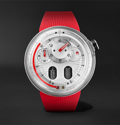 HYT H0 X Eau Rouge Hand-Wound 48.8mm Stainless Steel and Rubber Watch, Ref. No. 048-AC-84-RF-RU