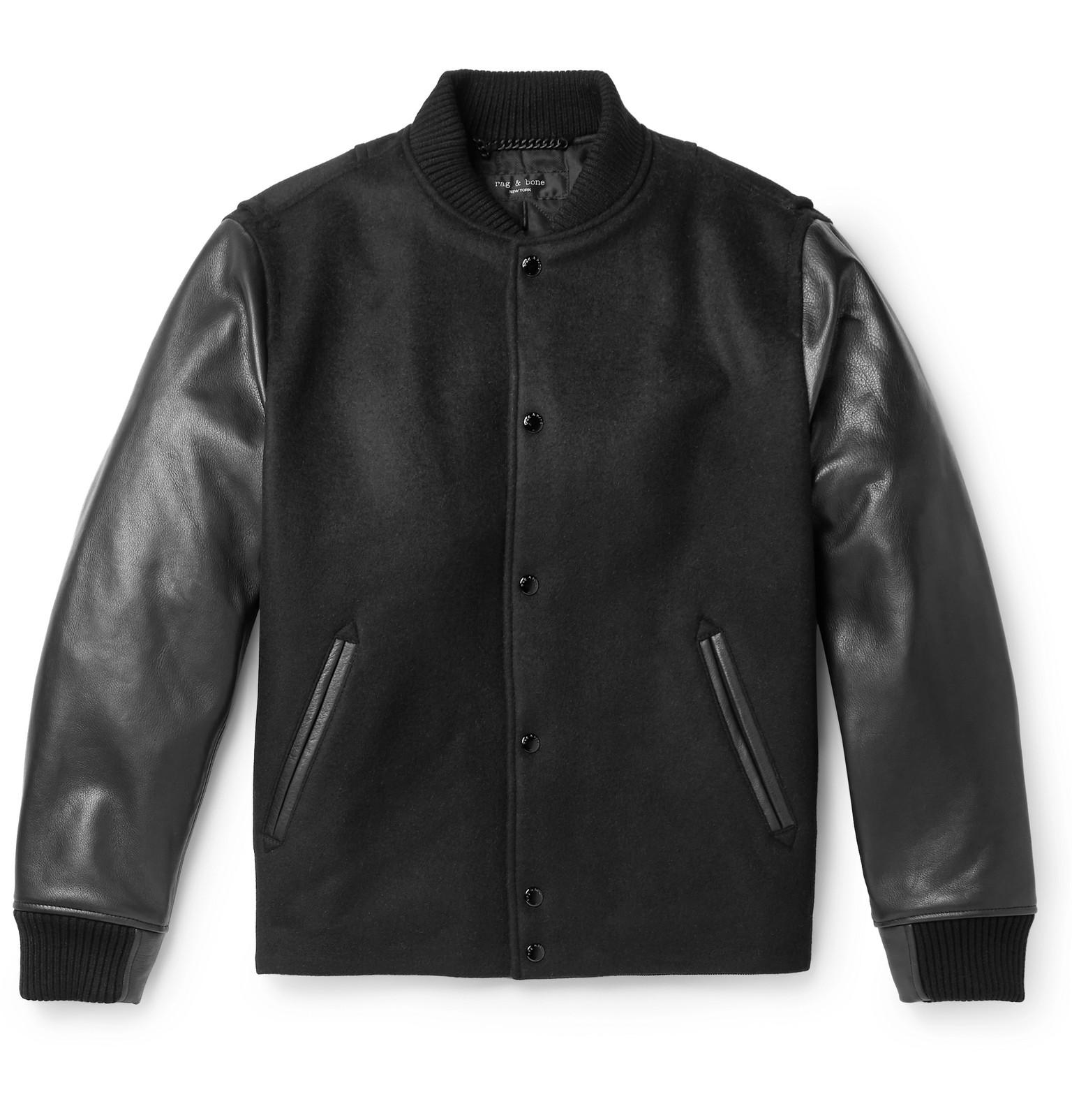 rag & bone Boulder Leather and Wool Blend Bomber Jacket