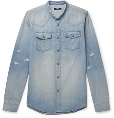 Balmain Grandad-Collar Logo-Embossed Distressed Denim Shirt