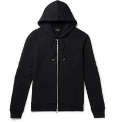 Balmain Logo-Embossed Fleece-Back Cotton-Jersey Zip-Up Hoodie