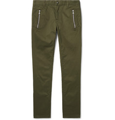 Balmain Skinny-Fit Logo-Flocked Cotton-Blend Twill Chinos