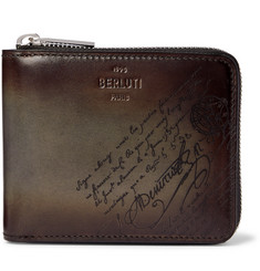 Berluti Scritto Leather Zip-Around Wallet