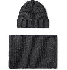 Hugo Boss Ribbed Cotton and Wool-Blend Beanie and Scarf Set