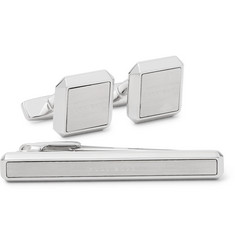 Hugo Boss Logo-Engraved Silver-Tone Cufflinks and Tie Bar Set