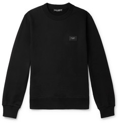 Dolce & Gabbana Logo-Appliquéd Loopback Stretch-Cotton Jersey Sweatshirt