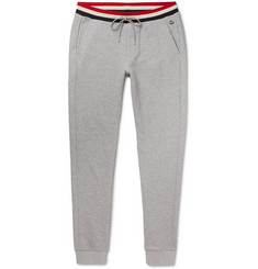 Moncler Slim-Fit Striped-Trimmed Mélange Loopback Cotton-Jersey Sweatpants