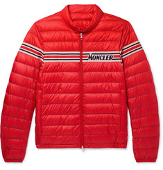 Moncler Slim-Fit Striped Jacquard-Trimmed Quilted Shell Down Jacket