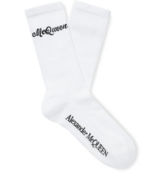 Alexander McQueen Logo-Intarsia Stretch Cotton-Blend Socks