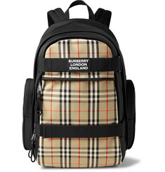 Burberry Logo-Appliquéd Leather-Trimmed Checked Canvas Backpack