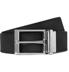 Burberry 3.5cm Black Reversible Checked Leather Belt