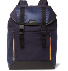 Paul Smith Leather-Trimmed Ripstop and Shell Backpack