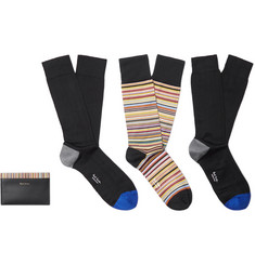 Paul Smith Leather Cardholder and Cotton-Blend Socks Gift Set