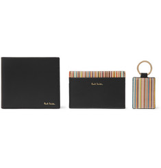 Paul Smith Striped Leather Billfold Wallet, Cardholder and Keyring Gift Set