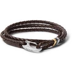 Paul Smith Woven Leather and Silver and Gold-Tone Wrap Bracelet