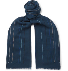 Paul Smith Fringed Embroidered Wool-Twill Scarf