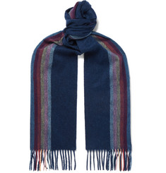 Paul Smith Striped Fringed Mélange Cashmere Scarf