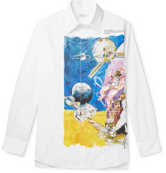 Valentino Printed Poplin-Panelled Cotton Shirt