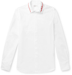 Valentino Slim-Fit Logo-Embellished Cotton-Poplin Shirt