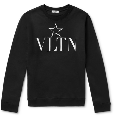 Slim Fit Logo Print Loopback Cotton Blend Jersey Sweatshirt by Valentino