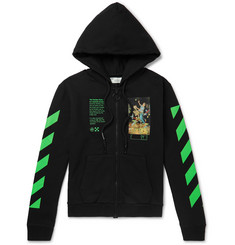 Off-White Printed Loopback Cotton-Jersey Zip-Up Hoodie