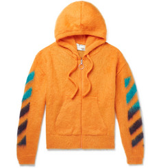 Off-White Logo-Jacquard Mohair-Blend Zip-Up Hoodie