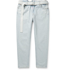 Off-White Slim-Fit Belted Logo-Print Denim Jeans