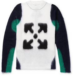 Off-White Logo-Intarsia Mohair-Blend Sweater