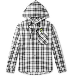 Off-White Oversized Appliquéd Checked Cotton-Blend Flannel Hooded Shirt