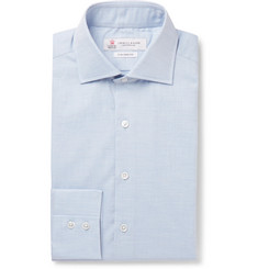 Turnbull & Asser Light-Blue Cotton-Herringbone Shirt