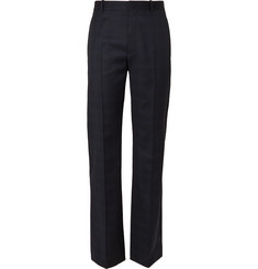 Balenciaga Navy Wide-Leg Prince of Wales Checked Wool Trousers