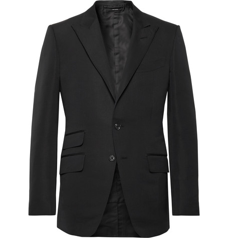 Tom Ford Jackets BLACK O'CONNOR SLIM-FIT COTTON AND SILK-BLEND SUIT JACKET