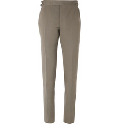 TOM FORD Army-Green O'Connor Cotton and Silk-Blend Suit Trousers