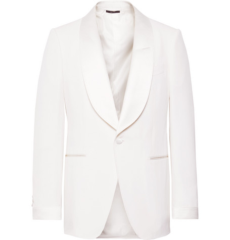 Tom Ford Jackets CREAM SHELTON SLIM-FIT SATIN-TRIMMED WOOL AND MOHAIR-BLEND TUXEDO JACKET