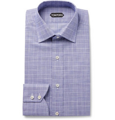 TOM FORD Navy Slim-Fit Prince of Wales Checked Cotton-Poplin Shirt
