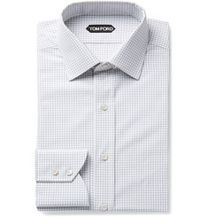 TOM FORD Slim-Fit Checked Cotton-Poplin Shirt