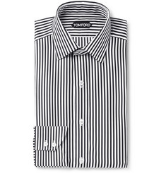 TOM FORD White Slim-Fit Striped Cotton and Lyocell-Blend Shirt