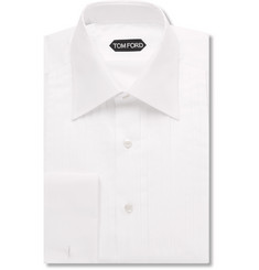 TOM FORD White Slim-Fit Pleated Bib-Front Cotton Shirt