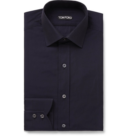 Navy Cotton Shirt by Tom Ford