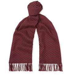 TOM FORD Fringed Polka-Dot Wool, Silk and Cashmere-Blend Scarf