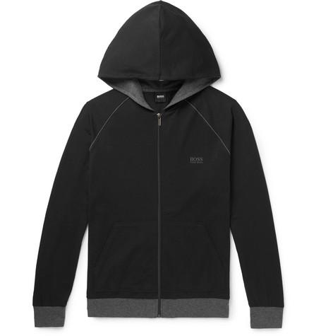 Hugo Boss – Stretch-cotton Jersey Zip-up Hoodie – Black